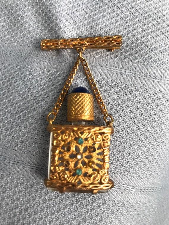 Vintage brooch perfume bottle/ holy water bottle