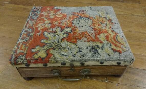 Vintage Antique Victorian Hot Water Bottle Footstool Box