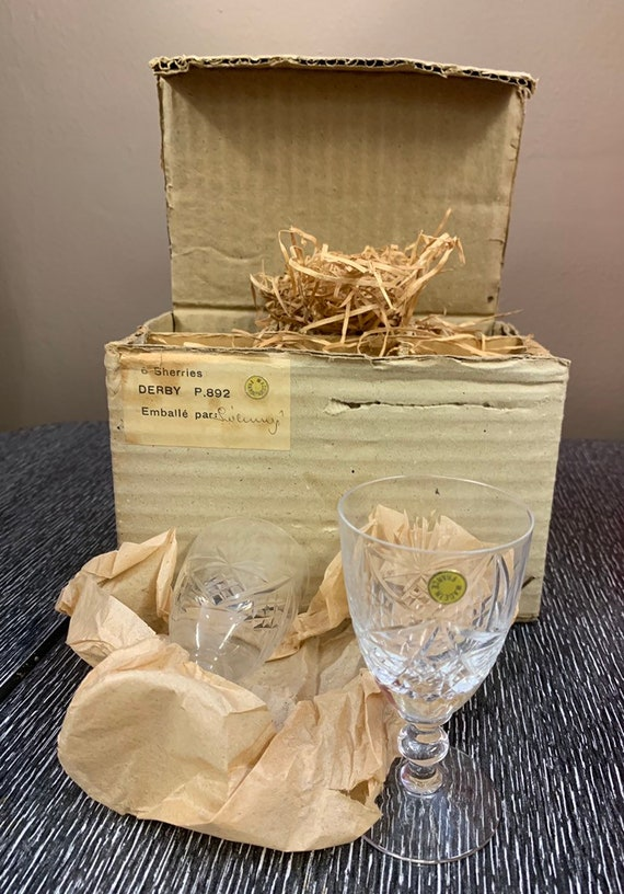 Vintage French cut glass Sherry glasses still boxed and unused