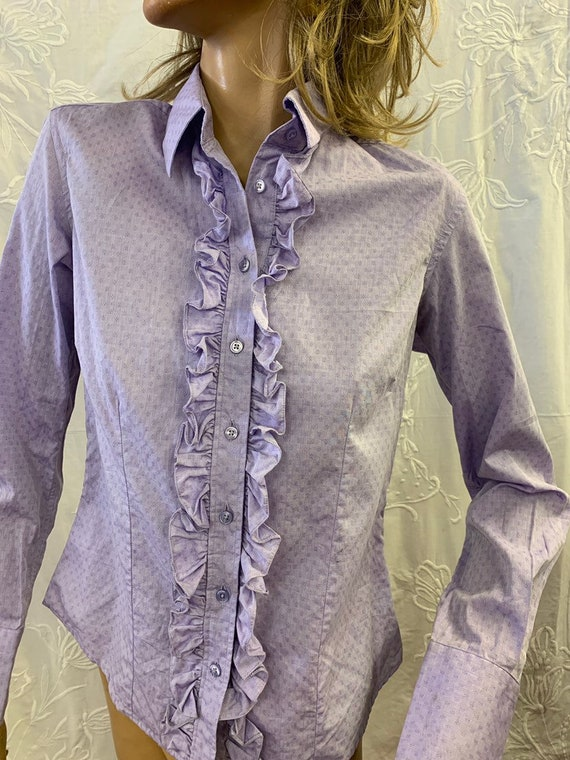 Ladies lilac frilly dress shirt size 10