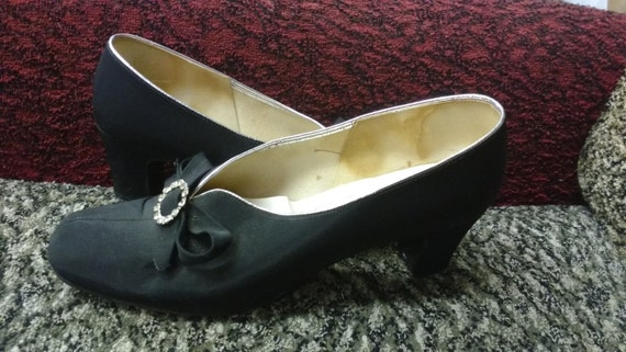 Vintage Black Fabric Flat Toed Heeled Shoes with Bows and Silver Rhinestone Brooches