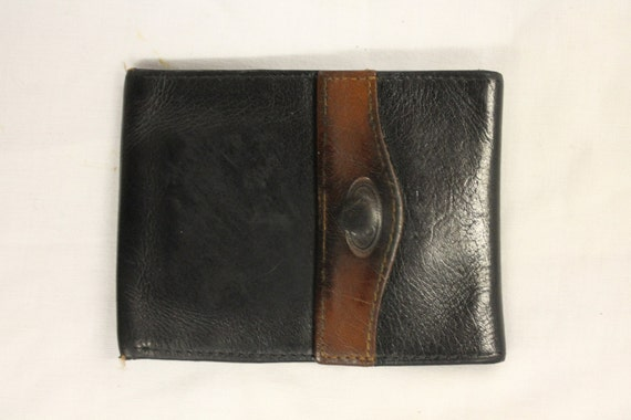 Vintage Black and Brown Leather Wallet with Multiple Compartments with Button Popper