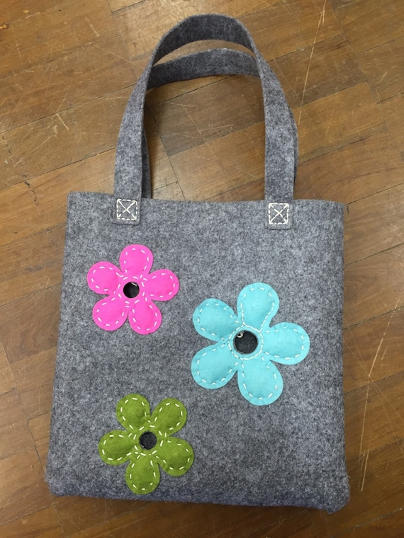 Handmade felt bag with flowers