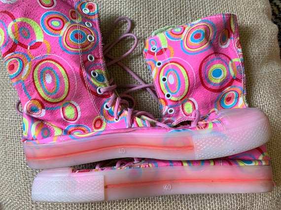 Funky pink fabric high top ankle boots size 7
