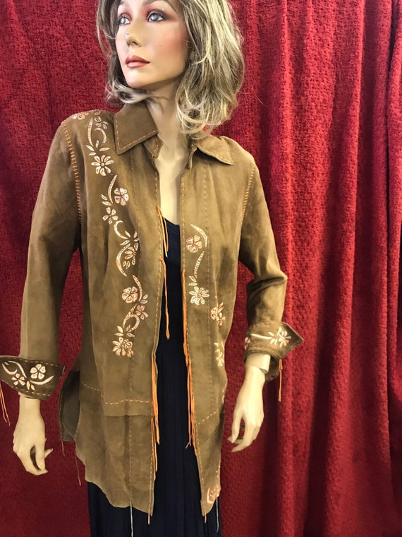 Unusual rayon coat with hand painted flowers and orange stitching and tie up back size uk 10-12