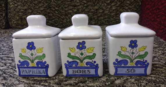 Vintage Set of Hungarian Square China Spice Pots White Glazed with Blue and Yellow Flowers Decor