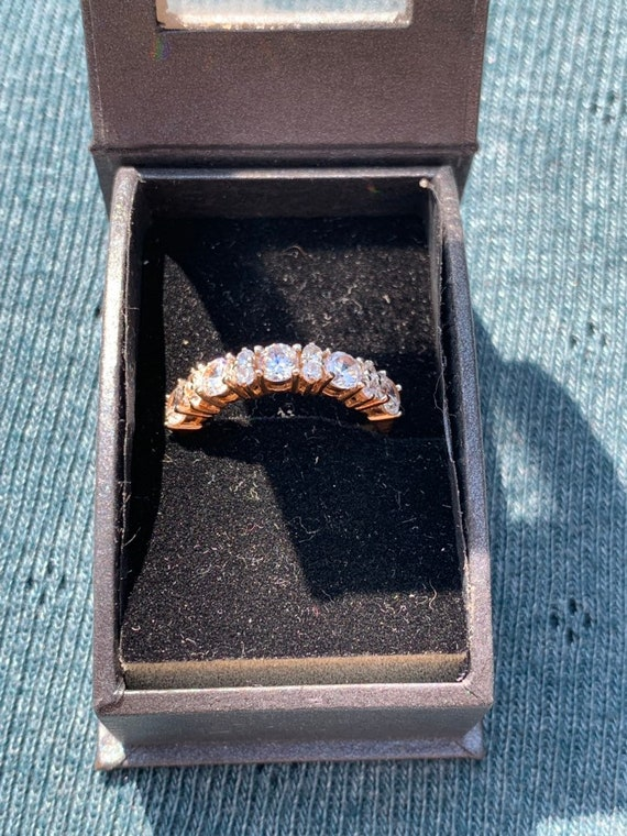 sparkly gold metal eternity ring with Diamanté's Size L