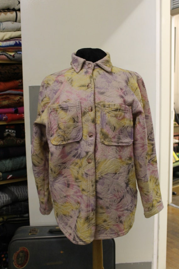 Vintage Pastel Floral fleecy Buttoned Jacket/shirt