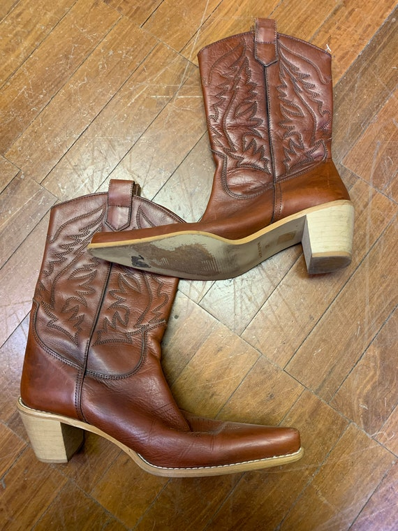 Vintage tan leather cowboy boots size Uk 4/37