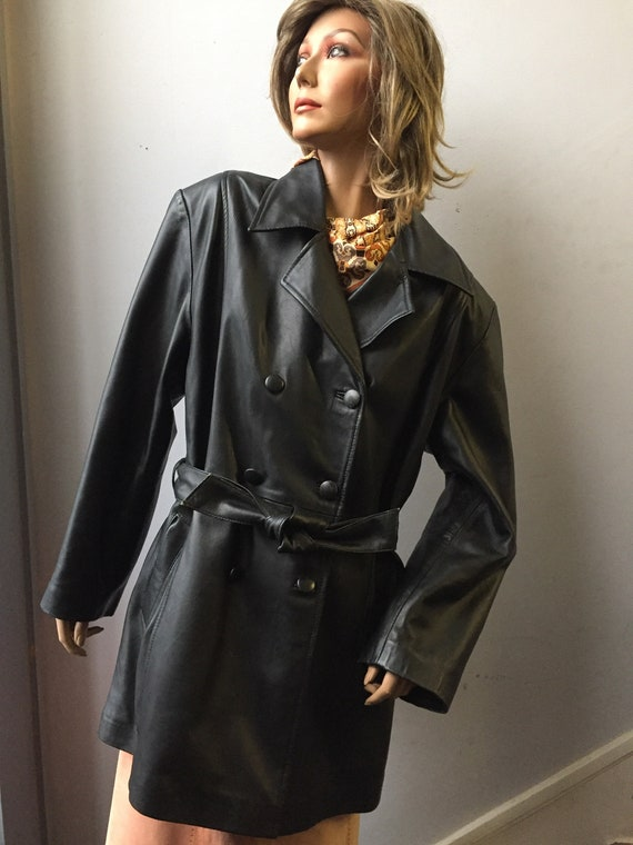Vintage 1980's leather double breasted jacket size uk 16-18