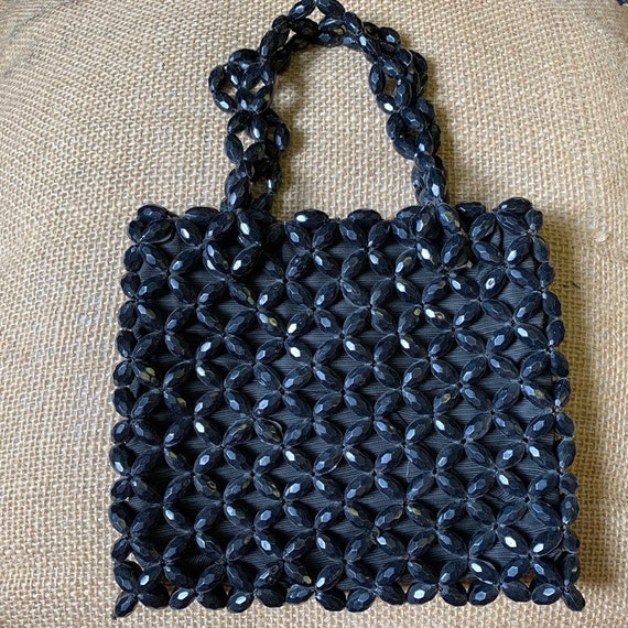 Stunning vintage black beaded handbag