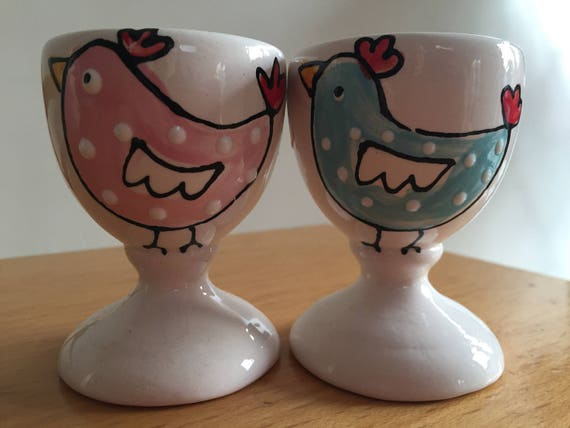 Girls and boys hand painted Easter egg cups