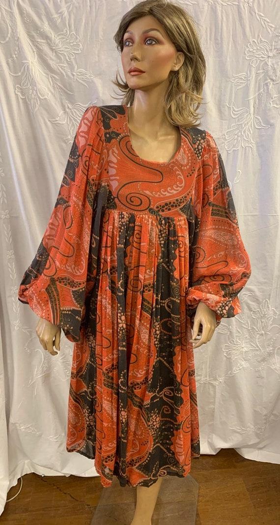 Stunning handmade 70's vintage paisley print dress size 10 uk