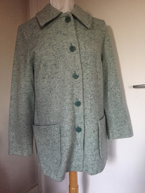 St michael coat size 12 in green and white flecked fabric