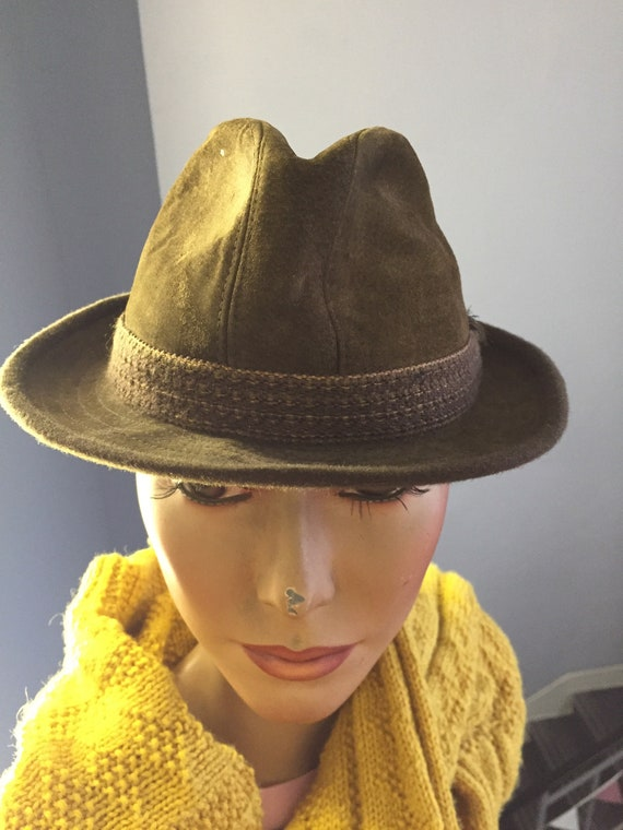 1960's mens suede hat with feathers