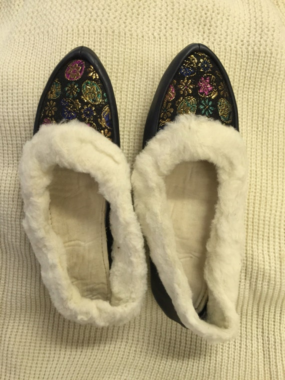 Vintage Dark Blue Leather Sole Faux Fur Lined Slippers Size UK 3/4