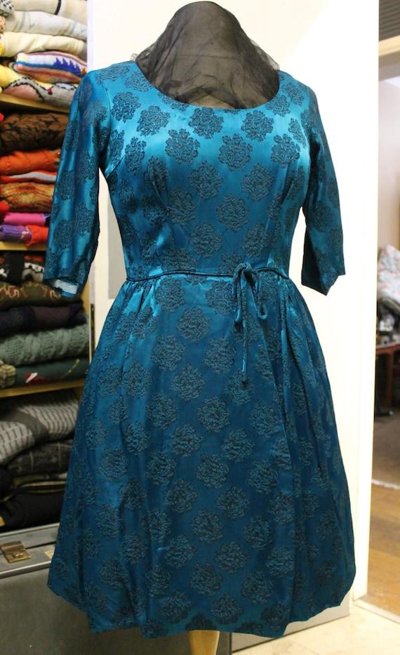 Vintage Handmade 1950's  Scoop Neckline Dress with Bow around the Waist