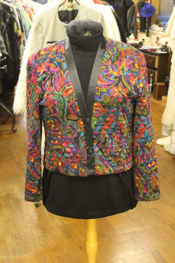 Vintage Alexon Bright Multi Coloured Pattern Qulited Jacket