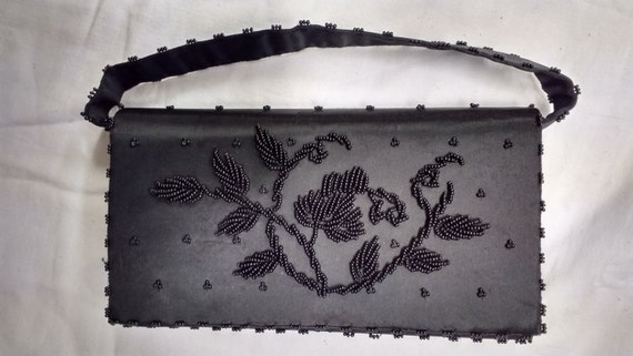 Stunning Vintage Black Rectangular Beaded Purse with Zipped Compartments