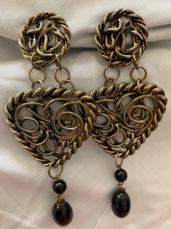 Vintage Big chunky drop clip on earrings with beads