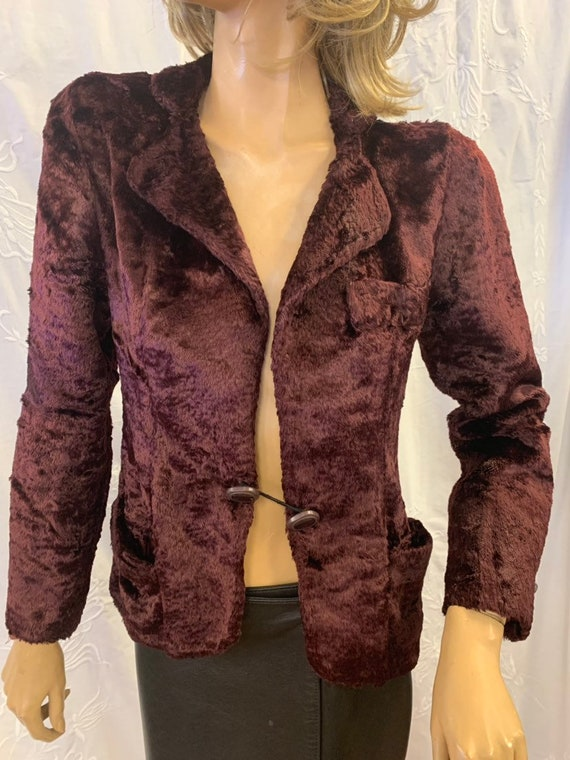 Vintage burgandy faux fur jacket size uk 12