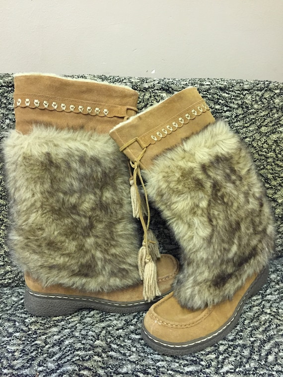Stunning vintage tan suede boots with faux fur size uk 7 us 9.5