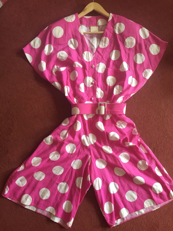 Quirky pink spotty culotte dress size 10-10