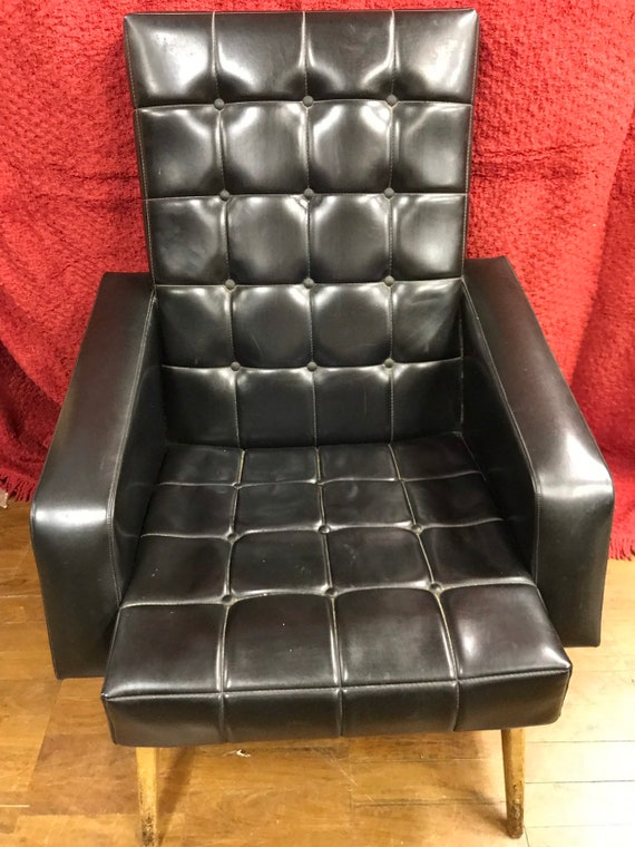 Funky retro 1960's pleather sprung chair