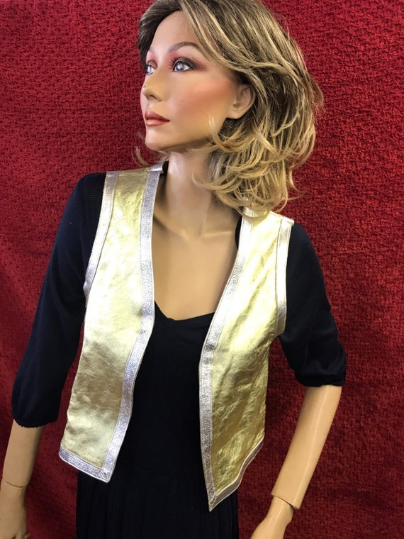 """Gorgeous gold silver and bronze leather waistcoat, 30"""" or size 6-8 uk"""