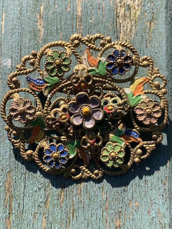 1930's hand enamelled  floral pin brooch