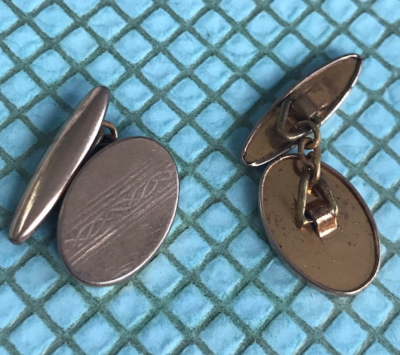 Mens gold covered cuff links