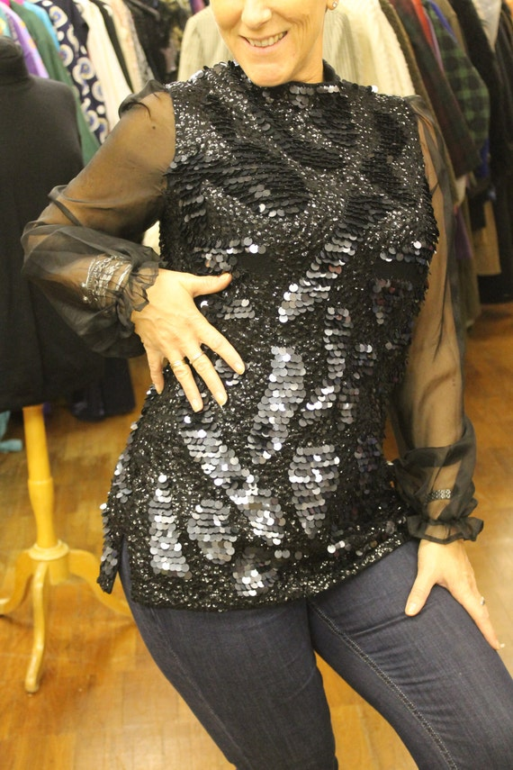 Vintage Sequined Black Top with Voile Semi Opaque Sleeves