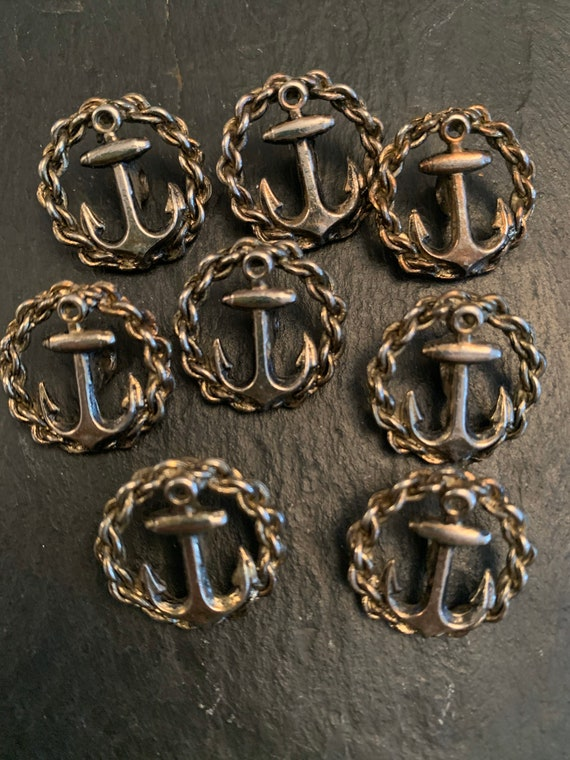Set of eight vintage anchor  metal buttons