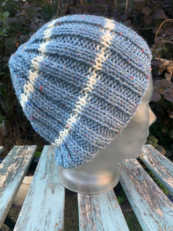 Hand knitted vintage winter wool slouch hat