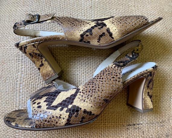Vintage leather snake skin sling back sandals size uk 6 by Gabor