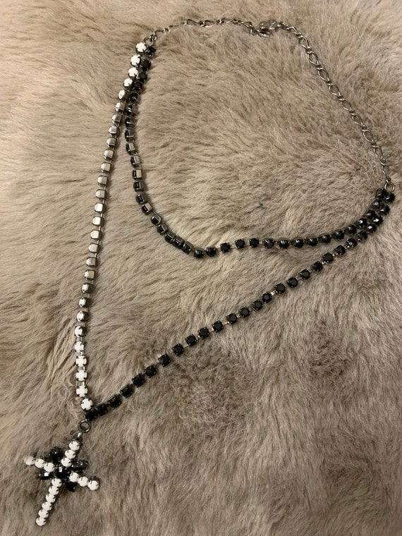 Vintage 1960's two tone, double strand crucifix beaded necklace by Mikey