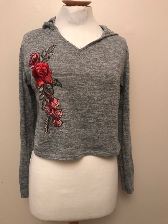 Grey hoody top with embroidered flowers size uk 14
