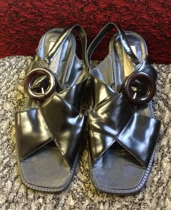 Vintage Dolcis Chunky Black Patent Sandals UK Size 8