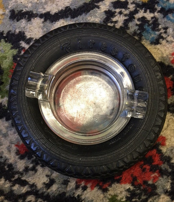 Vintage Firestone glass tyre ashtray made in the 1930s