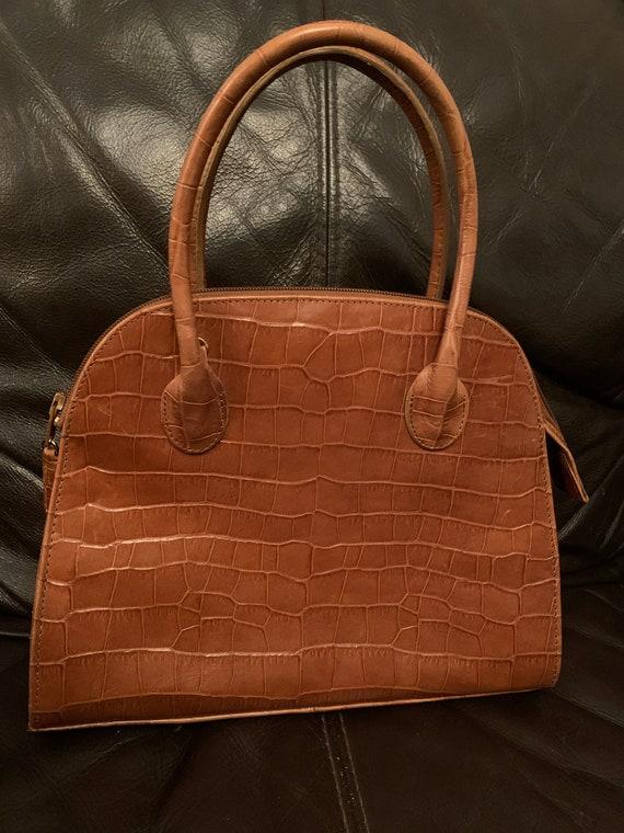 Stunning vintage croc skin leather handbag, made in Italy