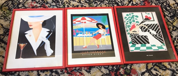 Set of 3 red framed prints from the 80's