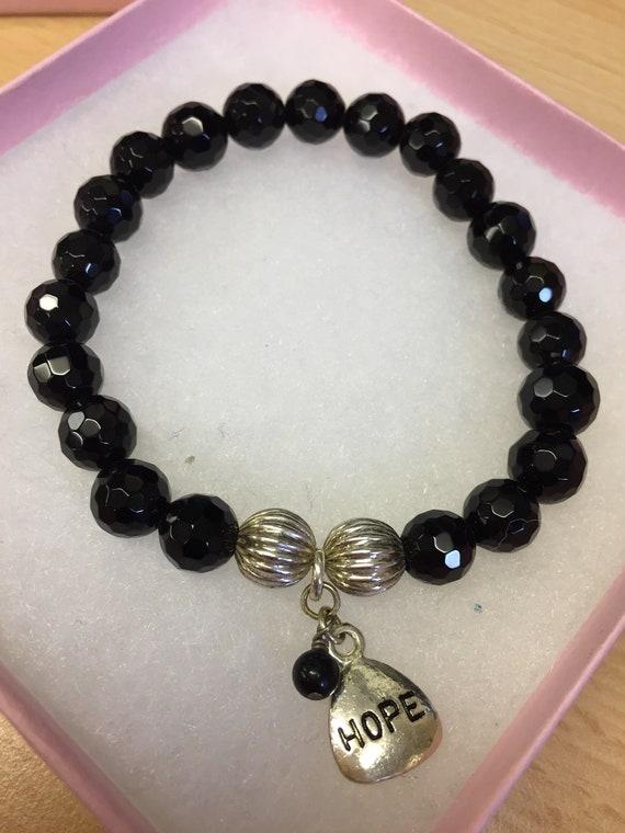 Hand made black glass beaded 'Hope' bracelet