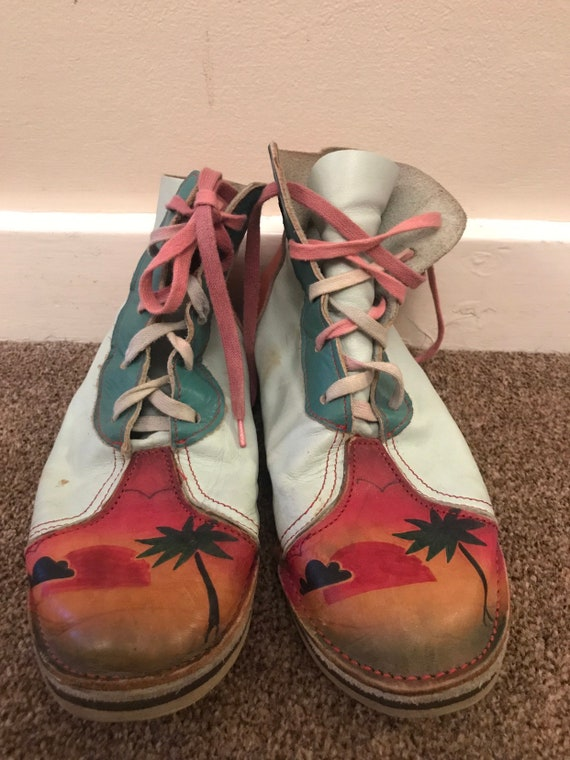Hand painted leather ankle boots size 5.5
