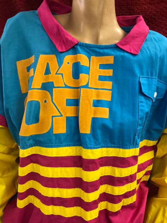 Rare Face Off 1980's top size XL by Duratee