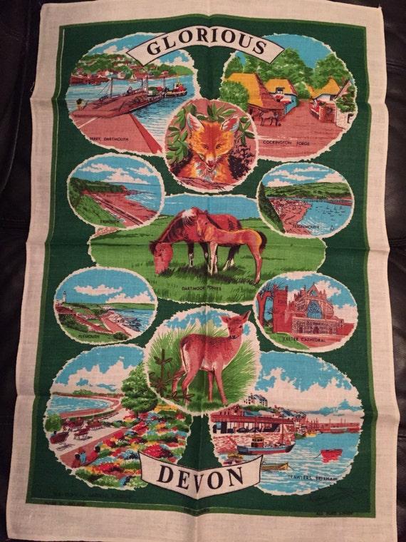 Vintage tea towel showing glorious Devon