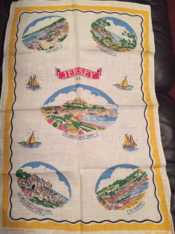 Vintage tea towel showing Jersey