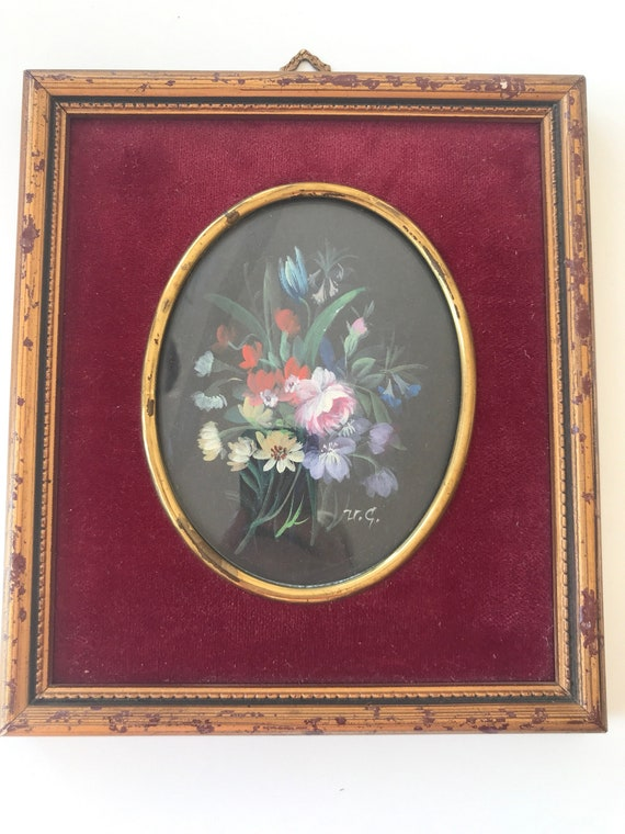 Vintage framed Floral handpainted water colour