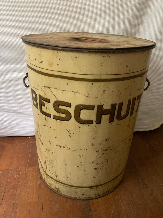 Oversized hand painted German biscuit barrel, buyer to collect or arrange courier from CR04AA