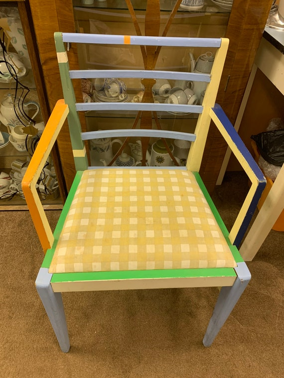 1970's angular chair- hand painted  buyer to collect or arrange courier