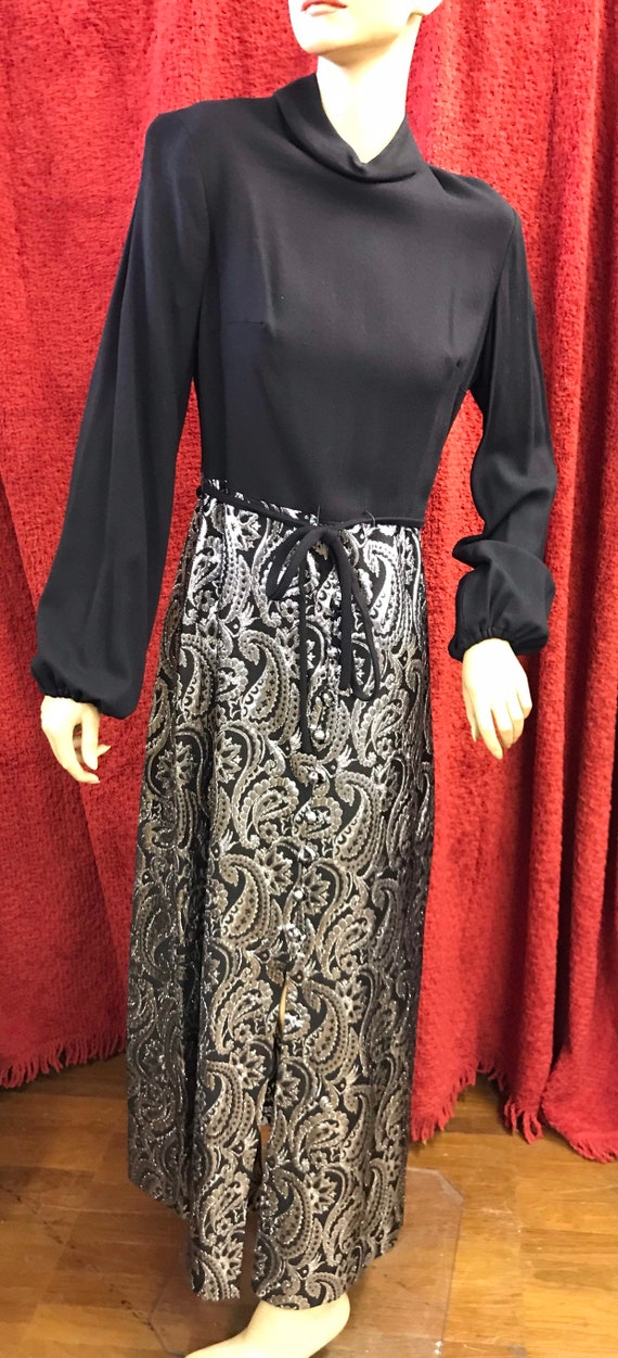 One off Stunning 1970's vintage silver paisley dress size 10-12